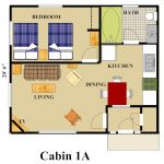Cabins 1A Floor Plan with color